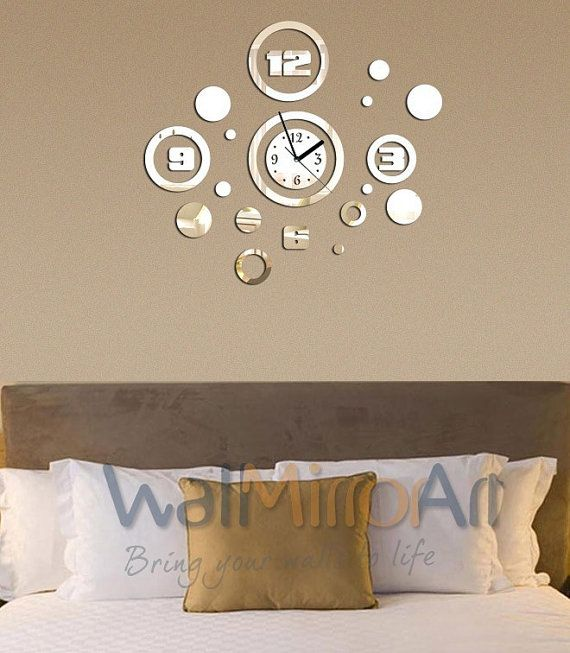 Big mirror wall clock decorative home and living room for Big wall pictures for living room