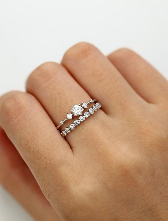 Moissanite engagement ring white gold Vintage Diamond wedding ring set Dainty an…
