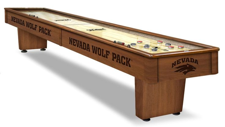 The Nevada Wolf Pack Shuffleboard Table comes in a 12-foot length. The Wood cabinet has CNC and laser cut logos. Two finishes. Free installation. Excellent quality. Free Shipping. Visit sportsfansplus.com for details.