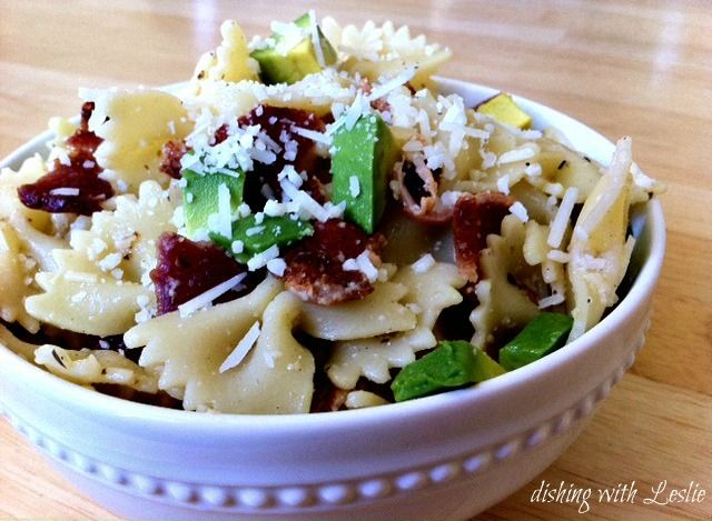 Avocado, Bacon, & Basil Pasta Salad -  Some of my favorite ingredients all in one bowl!