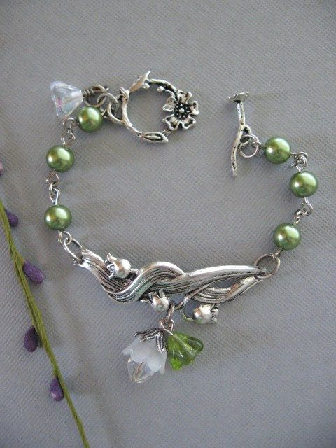 Lily of the Valley Bracelet with Green Pearls by CharmedValley, $24.00