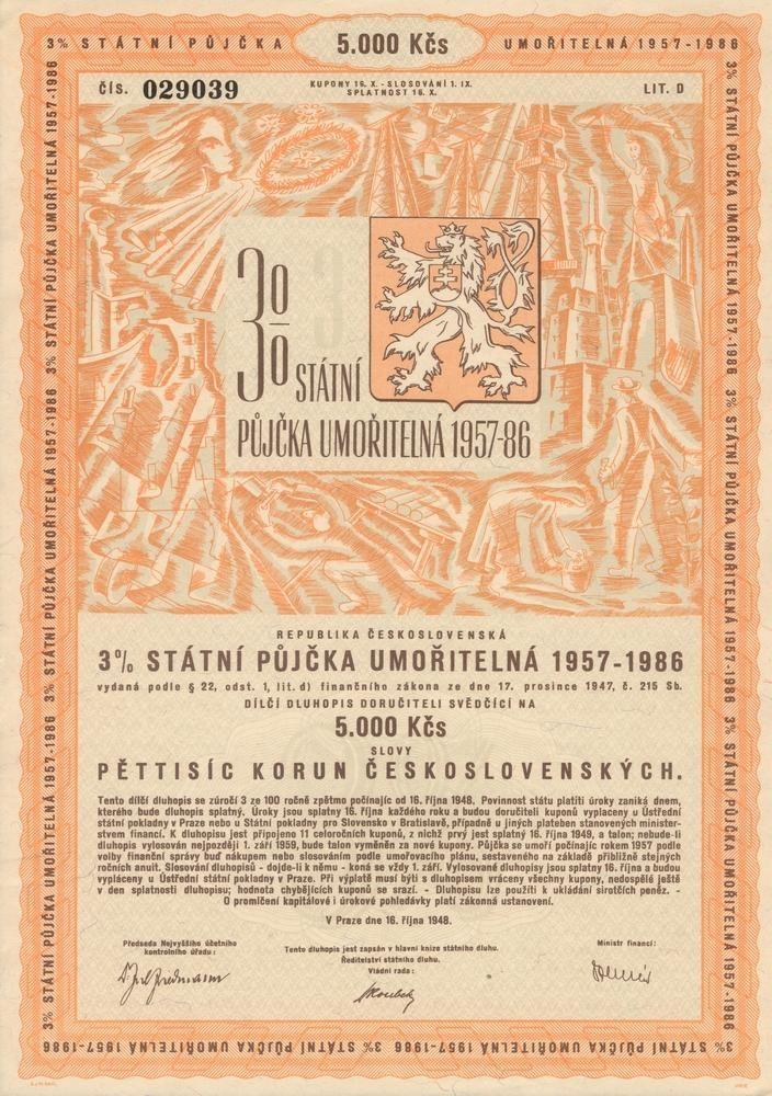 Státní půjčka umořitelná 1957 - 1986 na 5 000 Kčs. Praha, 1948.