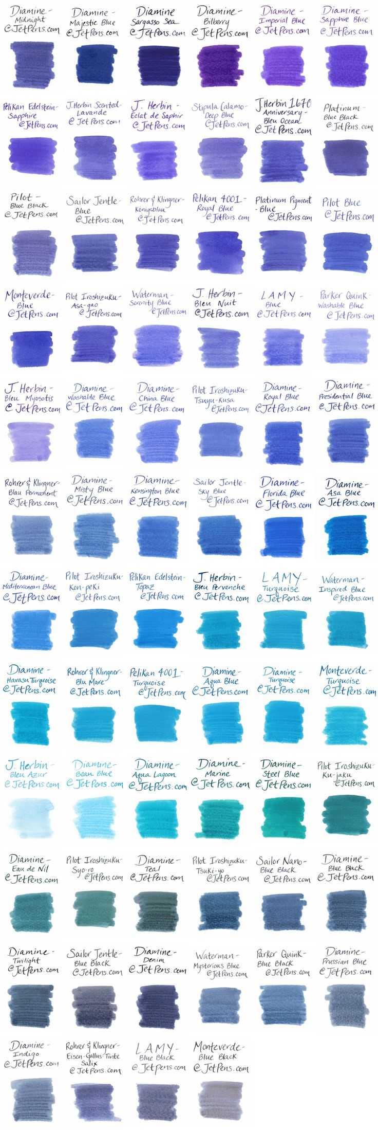 I like blue ink the best in Fountain Pens. Back to the roots. - Blue Fountain Pen Ink Comparison - JetPens.com