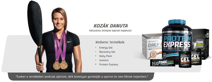 Kozák Danuta kajakozó is Biotech USA termékeket használ.