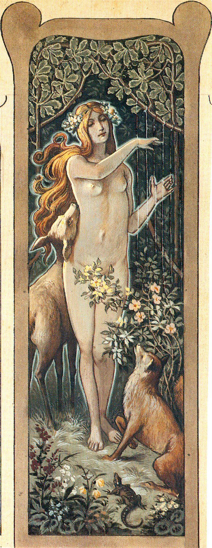 Moritz von Schwind: Nymphe, den Tieren des Waldes auf der Harfe vorspielend. _Nymphe_gross.jpg 1,417×3,650 pixels