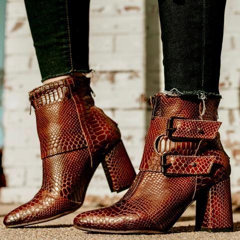 95844ebde2f womens freebird by steven joey cognac snake pointed toe flare heel back zip  ankle bootie