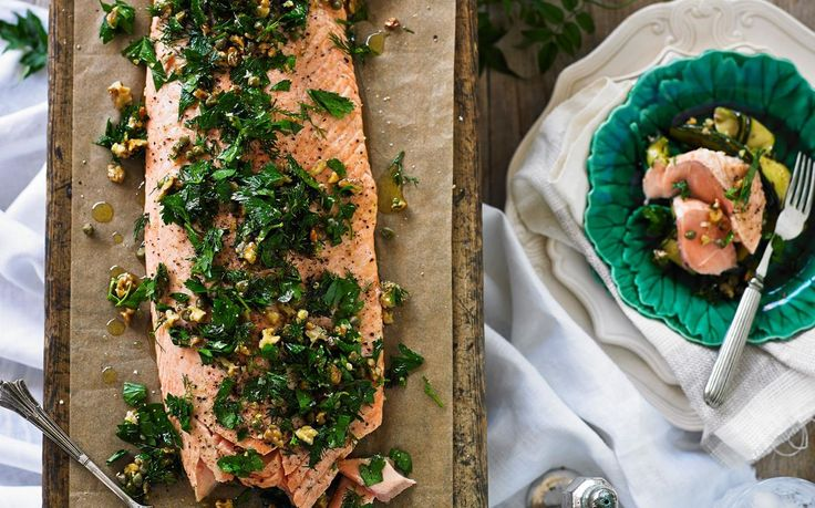 Salmon with herb & walnut salsa