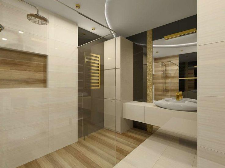 Projekt wnętrza łazienki w złocie ze stylowymi meblami i dekoracjami