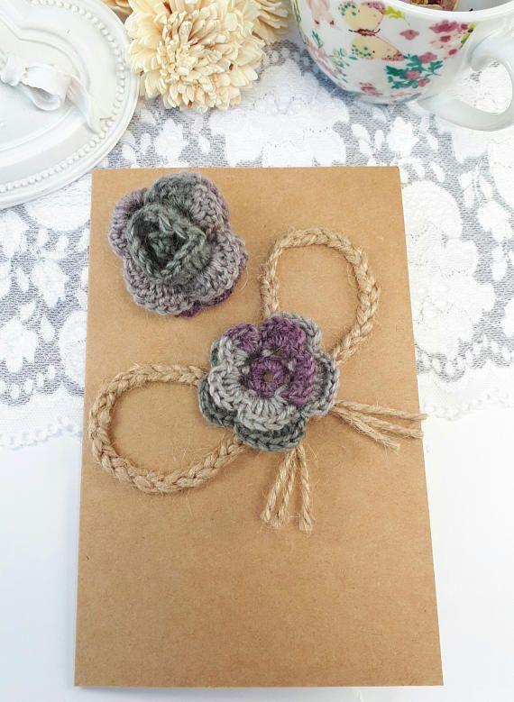 2 wool crochet flowers gray applique flowers  wool rose
