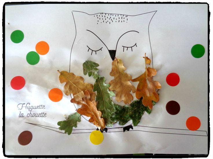 bricolage chouette d'automne, collage de feuilles d'arbre, automne, enfants