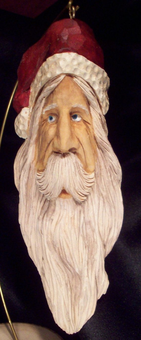 Hand Carve Old World Santa Ornament Folk