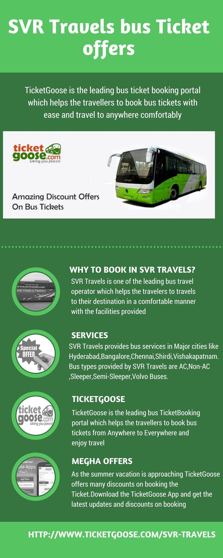 SVR Travels provides ticket booking to Vijayawada,Tirupati,Nellore,Bangalore routes. Book the tickets at ticket goose for the SVR Travels with low fares  http://www.ticketgoose.com/svr-travels