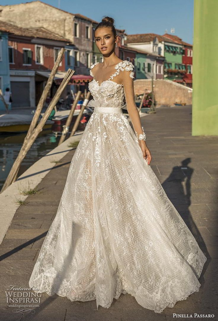 Weddinginspirasi.com mettant en vedette – pinella passaro 2019 manches longues de mariée illusi …