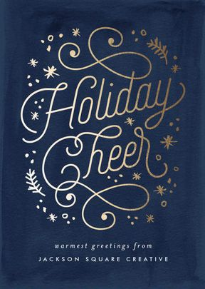 Gold Foil Pressed Business Holiday GreetingDesign for Corporate Christmas and Holiday Celebrations from Minted.com - Another Amazing LETTERING DESIGN IDEA