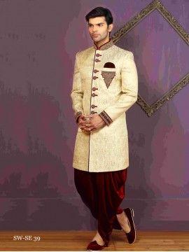Sparky Golden Silk Sherwani