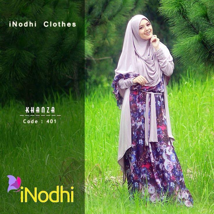 baju gamis khanza 401 baju gamis syar i dengan desain bunga-bunga cantik. perpaduannya sangat pas dan menarik.