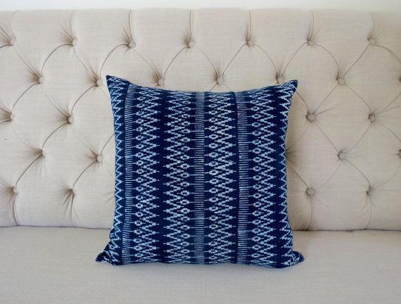 Vintage Indigo batik Hmong cushion cover Handmade by shopthailand