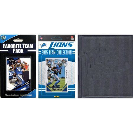 C Collectables NFL Detroit Lions Licensed 2015 Score Team Set and Favorite Player Trading Card Pack Plus Storage Album, Multicolor