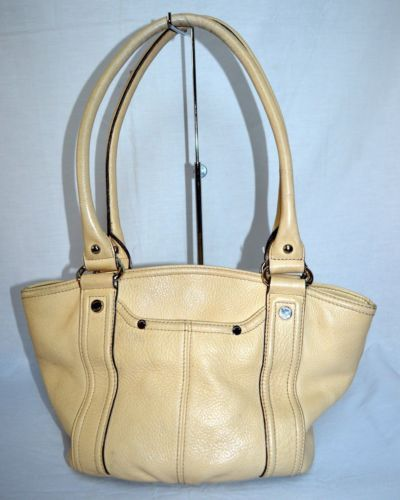 Tignanello-Beige-Leather-Handbag-Purse-Shoulder-Bag