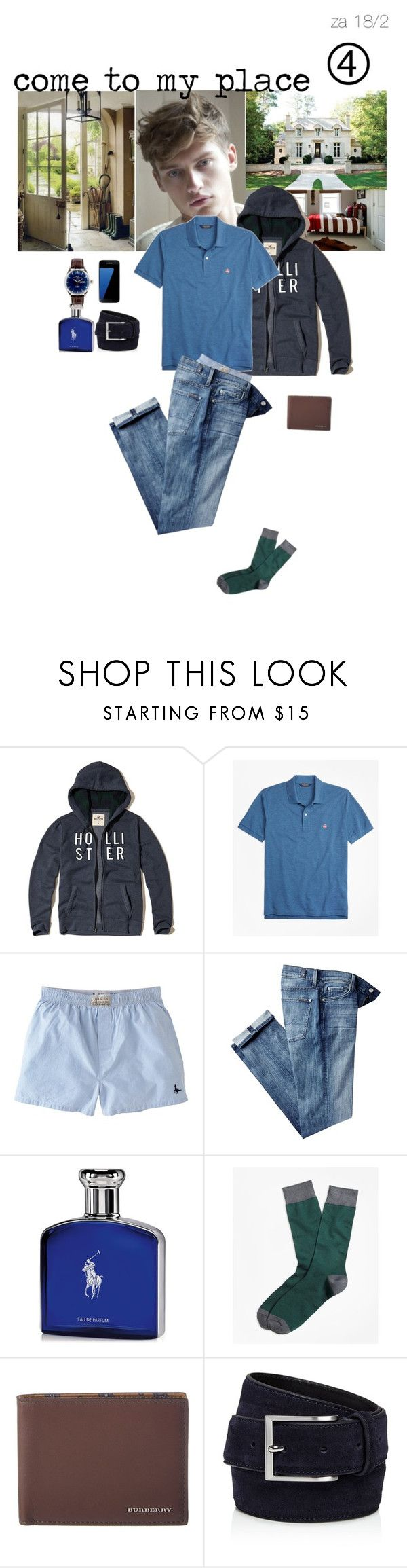 """Come to my place"" by adelaidesmitha ❤ liked on Polyvore featuring Hollister Co., Brooks Brothers, Jack Wills, 7 For All Mankind, Ralph Lauren, Burberry, To Boot New York, Samsung, men's fashion and menswear"