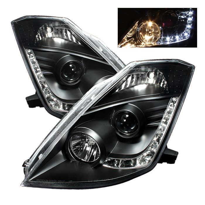 ( Spyder ) Nissan 350Z 03-05 Projector Headlights - Halogen Model Only ( Not Compatible With Xenon/HID Model ) - DRL - Black - High H1 (Included) - Low H7 (Included)