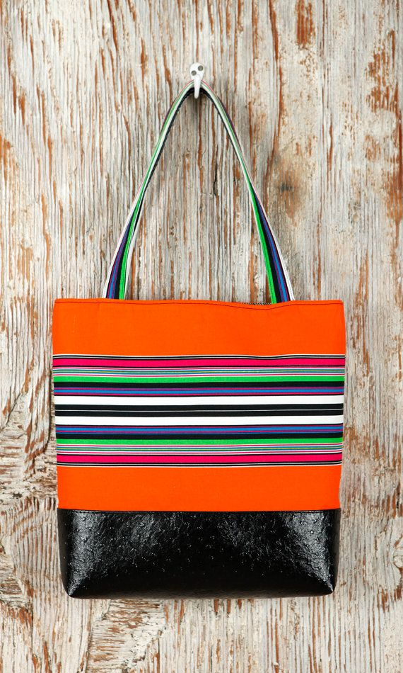 Black Faux Leather Tote Bag with Orange Cotton Print - Ostrich-look leather