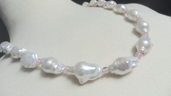Perlenkette echte Perlen barock weiße Perlen von Perlenfischzuege