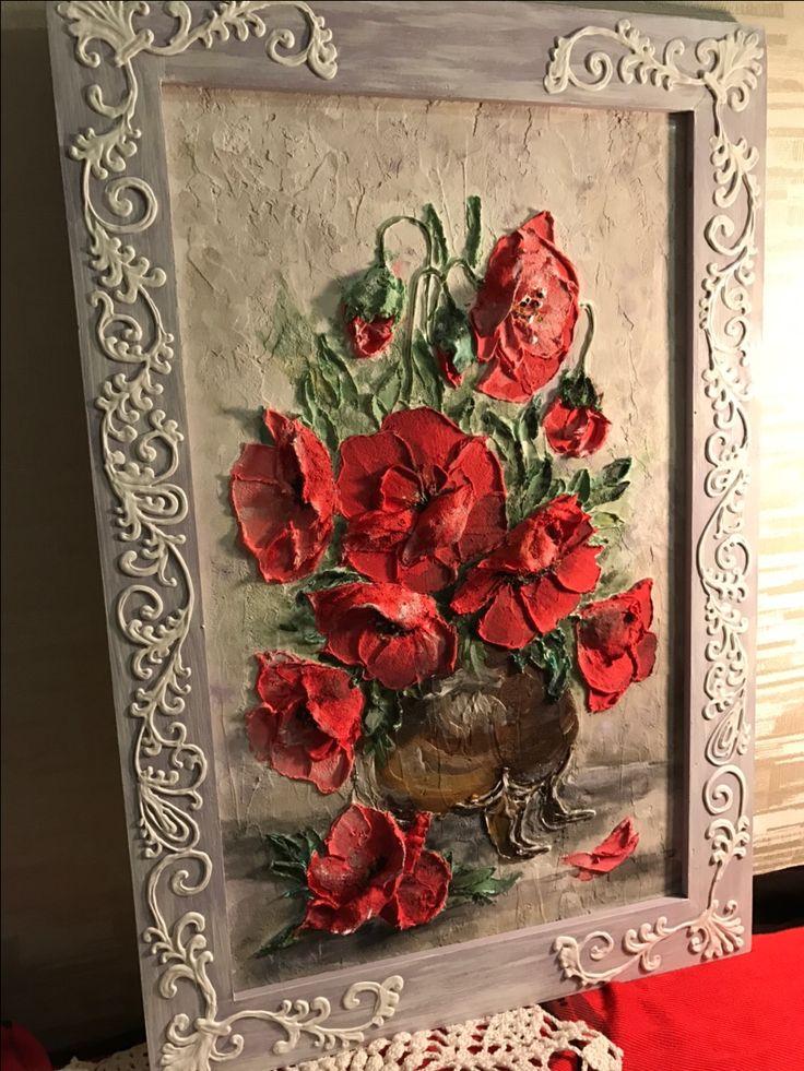 """Картина """"Маки""""скульптурная живопись"""