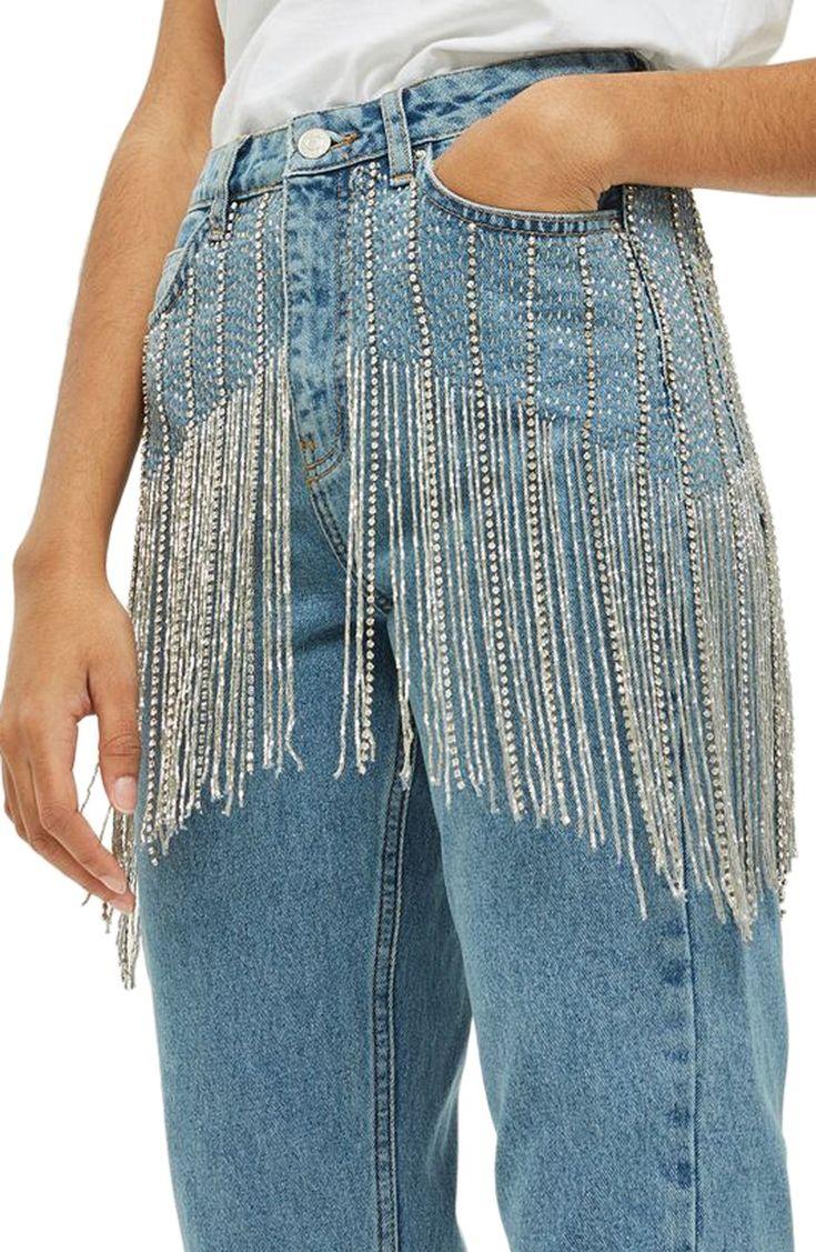 Main Image - Topshop Diamante Crystal Fringe Mom Jeans