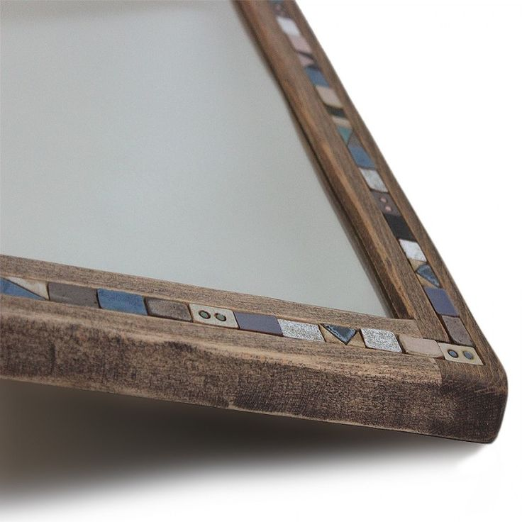 The mirror in wooden frame... Handmade mirror made from hornbeam and surrounded by tiny ceramic tile. This product is designed in a rustic style by gugarwood.