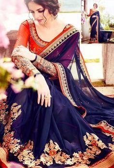 Blue designer saree with blouse