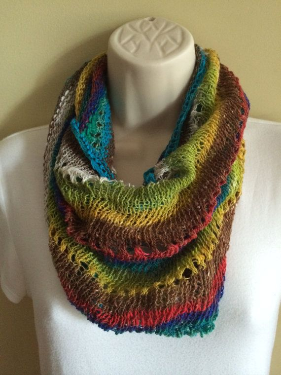 Tropic Rainbow Cowl Free Shipping Summer Sale by KnittedWool, $60.00
