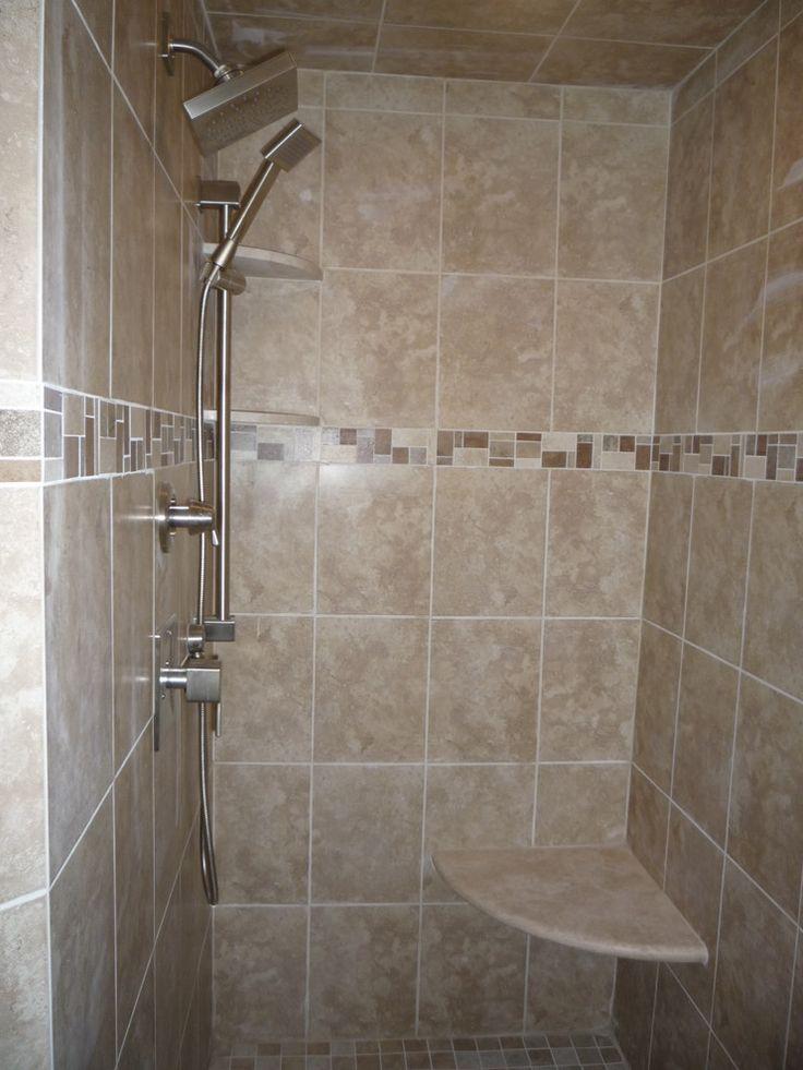 fantastic shower corner shelf with marble corner seat next to beige porcelain shower tiles and handheld