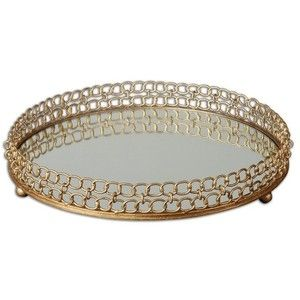 Gold Unique Made Gold Leaf Metal Round Serving Tray Mirror Home Decor - Transitional - Serving Trays - by GwG Outlet
