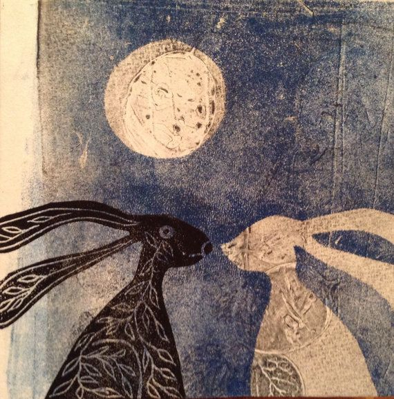 Hare card print made of Gelliprint & Linoprint 13 x by maritmoss