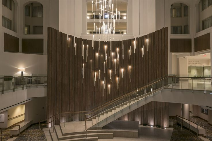 The Grand Hyatt hotel in Washington DC sought to bring back the luster to its property. We provided a multistory chandelier standing 50 meters in combined height. Each section carries 272 glass tubes covered in Stardust® to better distribute the light. #light #lighting #design #designlighting #interior #interiortrends #crystal #bohemiancrystal #chandelier #hospitality #hotel #staircaselights #staircaselighting #lightinginspirations #lightingtips #preciosa #preciosalighting…