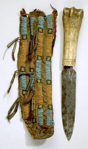 Northern Plains Indian bone handled fighting dagger.