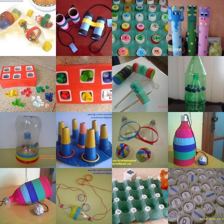 Brinquedos diversos de materiais reciclaveis