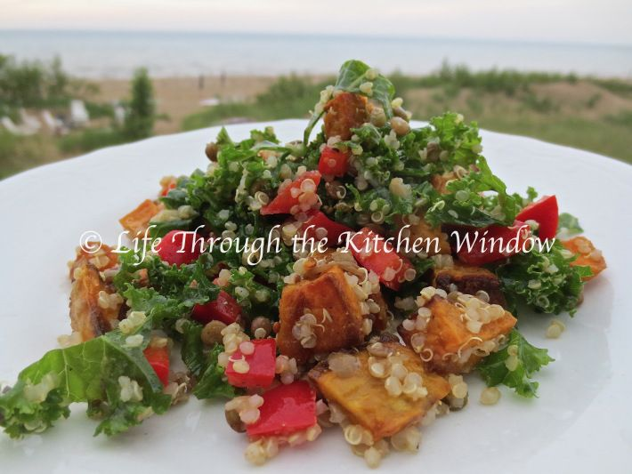Kale, Quinoa & Roasted Sweet Potato Salad   © Life Through the Kitchen Window