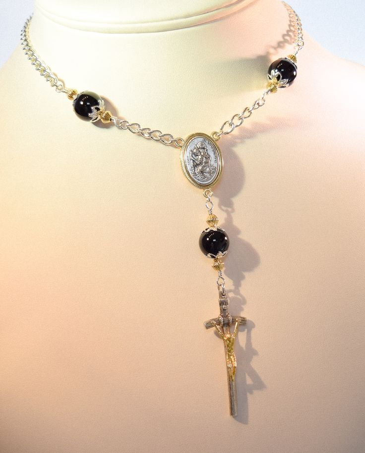 Black Onyx Silver Rosary Necklace, Two Tone Saint Christopher Medal and Two Tone Papel Crucifix!
