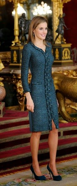 Spanish Queen Letizia looked graceful in a dark teal tweed dress with matching shoes as she attends Spain's National Day Royal Reception at Royal Palace on 12.10.2014 in Madrid, Spain.