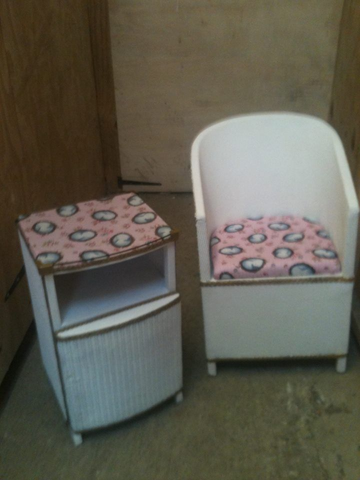 vintage bedside cabinet and chair