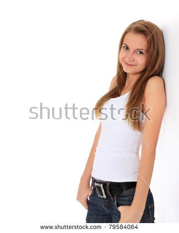 Attractive girl leaning to the wall. All on white background.