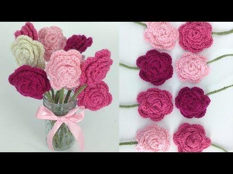 diy learn how to crochet a beginner easy flower rose rosas bouquet flowers leaf leaves stem