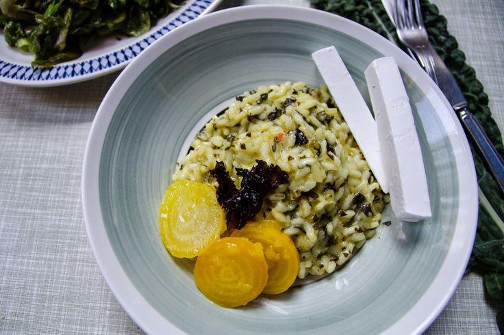 FARBROR GRÖN: Risotto med svartkål och citronmarinerade gulbetor...