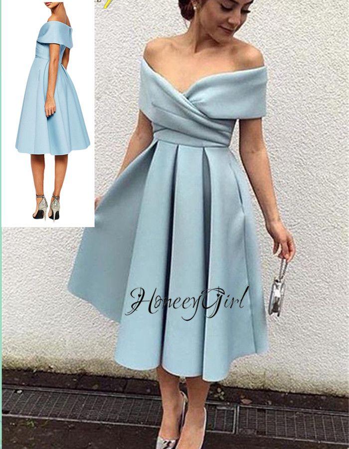 Evening Dress,Tea-Length Evening Dress,Off-the-Shoulder Evening Dresses,Elegant Party Dress For Wome on Luulla