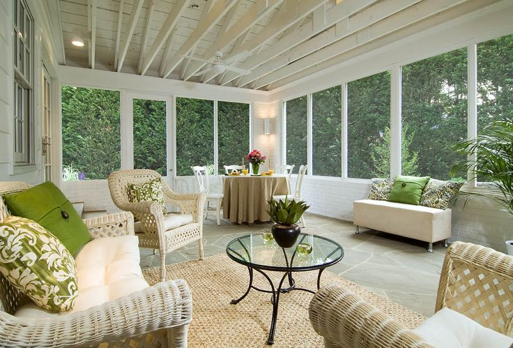 Sunroom With Open Rafters And Flagstone Floor Via Anthony