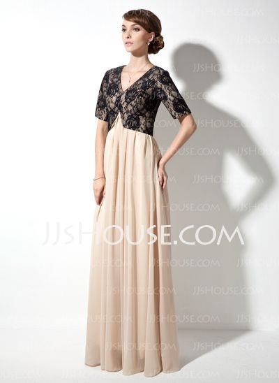 Mother of the Bride Dresses - $149.99 - A-Line/Princess V-neck Floor-Length Chiffon Lace Mother of the Bride Dress With Ruffle (008017378) http://jjshouse.com/A-Line-Princess-V-Neck-Floor-Length-Chiffon-Lace-Mother-Of-The-Bride-Dress-With-Ruffle-008017378-g17378