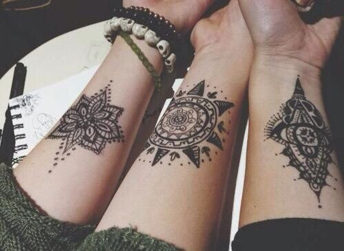 Friendship henna tattoos