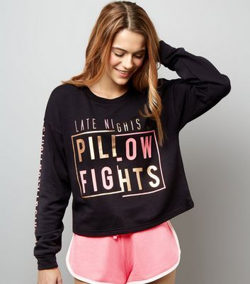 """- 1 top and 1 pair of shorts included- 'Late Nights & Pillow Fights' slogan top- Rounded neckline- Simple long sleeves- Metallic and neon print detail- Drawstring waist shorts- Contrast trim- Soft finsih- Casual fit that is true to size- Model Squad model Emily is 5'7""""/170cm and wears size S * Size Guide: XS – UK 4-6, S – UK 8-10, M – UK 12-14, L – UK 16-18*"""